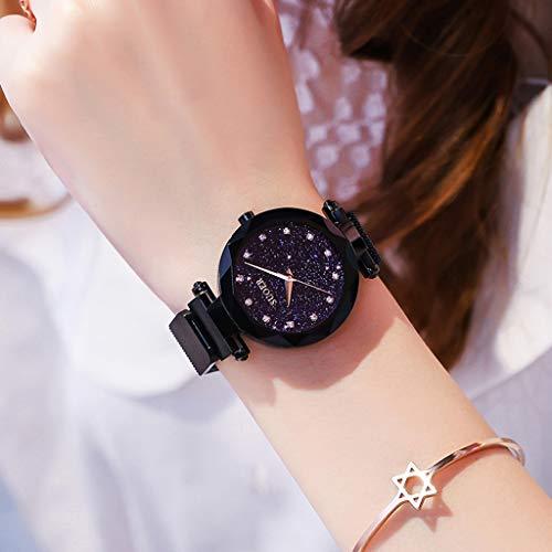 JYKOO Damenuhr, Modetrend Wasserdicht, Premium Metallarmband, Sternenhimmel Zifferblatt Diamond, Starry Sky Girl Uhr,Black