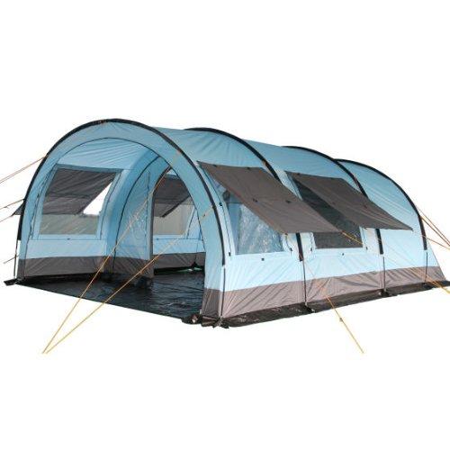 CampFeuer Tunnelzelt für 6 Personen Relax6 | Variables Tunnelzelt mit abtrennbarer Schlafkabine und 5.000 mm Wassersäule | Gruppenzelt | Campingzelt (hellblau-grau)