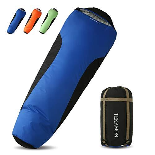 TEKAMON Schlafsack 3-4 Jahreszeiten, Sonderpreis!! Outdoor Trekking Camping, Ultraleicht Kompakt Mumienschlafsack,für Erwachsene blau 210 * 80 * 50cm