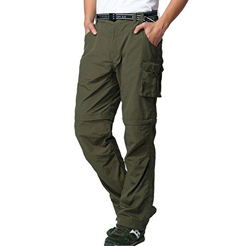 FLYGAGA Herren Outdoorhose Wanderhose Zip Off Hose Shorts Sommer mit Gürtel Leichte Schnelltrocknend Atmungsaktiv FunktionshoseTrekkinghose (Grün, S(W32*L30))