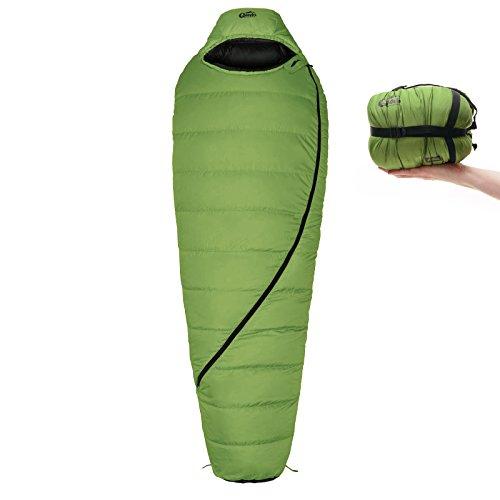 Qeedo Asaka Daunen-Schlafsack (2 Größen: M & L) / 6°C Komforttemperatur (3-Saison) / Mumienschlafsack extrem klein & leicht (Gr.M: 850g) / inkl. Kompressionssack + Aufbewahrungstasche