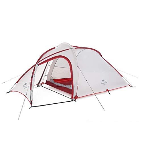 Naturehike Hiby 3 Personen Zelt Backpacking Leichtes Wasserdichtes Camping Zelt Camping Veranda Zelt (20D Grau/Rot)