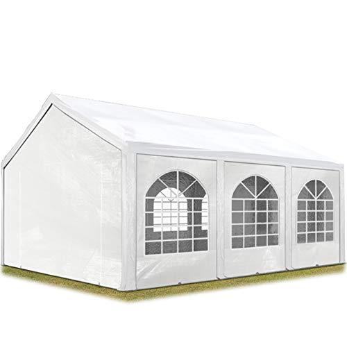 TOOLPORT Hochwertiges Partyzelt 4x6 m Pavillon Zelt 240g/m² PE Plane Gartenzelt Festzelt Wasserdicht weiß
