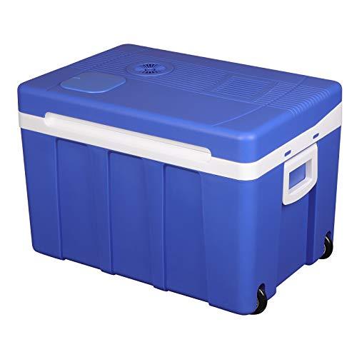 WOLTU KUE003bl Kühlbox, Tragbarer Mini Kühlschrank, 50 Liter Isolierbox zum Warmhalten, Kühlen für Auto, Van, Fahrzeug, Boot mit Räder für Camping, Reisen - DC 12V & AC 220V Blau