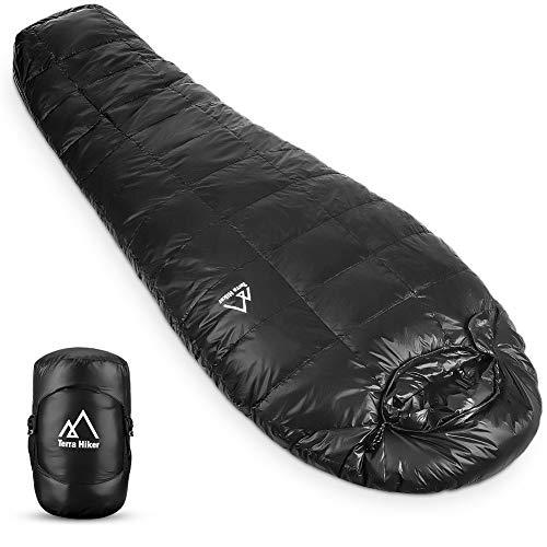 Terra Hiker Daunen-Winterschlafsack | Outdoor Mumienschlafsack für Camping und Bergsteigen mit ultraleichter und ultrakompakter Entendaunenfüllung | Maximale Körpergröße 6'3' (190 cm)