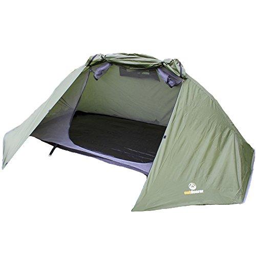 outdoorer Trekkingzelt für 1-2 Personen, Zelt Trek It Easy 2, grün, leicht, geringes Packmaß, leichtes Alu-Gestänge mit Schnellaufbau Funktion