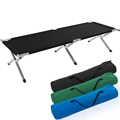 TRESKO XXL Campingbett Feldbett 210 x 72 x 45 cm Metallrohr - Belastbarkeit bis 150kg - in verschiedenen Farben (Schwarz)