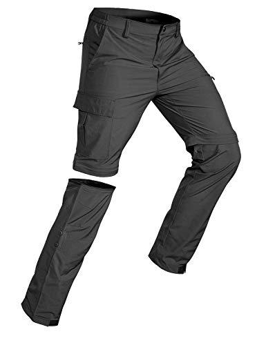 Wespornow Herren Zip-Off-Wanderhose-Abnehmbar-Trekkinghose, Atmungsaktiv Outdoorhose Arbeit Hosen Schnell Trockend Sommer Funktionshose mit 5 Taschen (Dunkelgrau, 3XL)