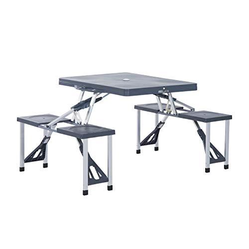 Outsunny Alu Campingtisch Picknick Bank Sitzgruppe Gartentisch mit 4 Sitzen klappbar Dunkelgrau