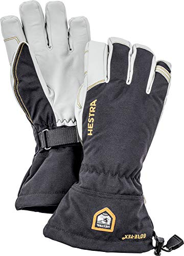 Hestra Wasserdichter Ski-Handschuhe für Herren und Damen, Armee-Leder, Gore-Tex, kaltes Wetter, Schwarz, Größe 6