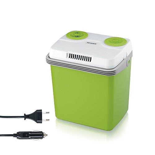 SEVERIN KB 2922 Elektrische Kühlbox (mit Kühl- und Warmhaltefunktion, 20 L, inkl. 2 Anschlüssen: Netzanschluss und zusätzlicher 12 V-Anschlussleitung für Zigarettenanzünder) grün-grau