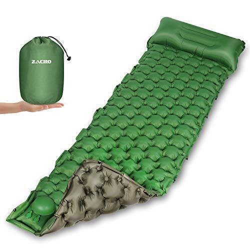 Zacro Camping Isomatte mit eingebauter Luftpumpe, aufblasbare Schlafmatte mit Kissen,wasserdichte doppelseitige farbige Schlafmatte eignet Sich für Rucksack, Reisen, Wandern