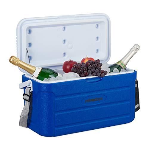 Relaxdays Kühlbox 20 l, Kühlkiste für unterwegs, Tragegurt & Griff, ohne Strom, Isolierbox, 29 x 52,5 x 26,5 cm, blau