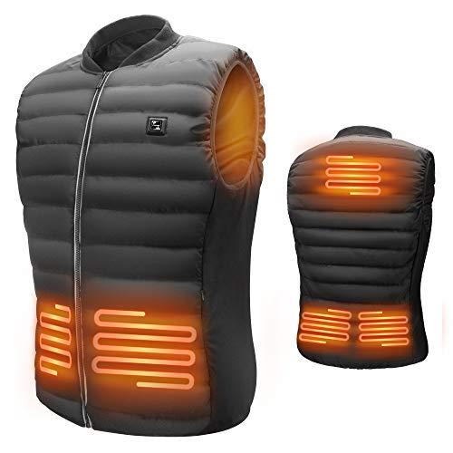 LIFEBEE Beheizte Weste für Herren Damen, beheizbare Weste Elektrische Beheizte Jacke Heizweste USB Wärmeweste mit 3 einstellbar Temperatur, Polyester beheizbare Jacke Winterweste für Outdoor