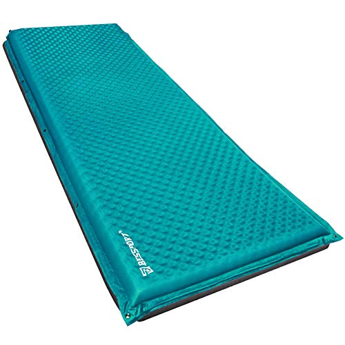 Bessport Selbstaufblasende Isomatte, mit Tragetasche und 5cm Dicke Camping Isomatte Schlafmatte, ideal für Hängematte und Zelt Schlafsack Outdoor Wandern-66CM Breite
