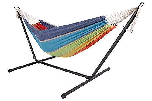 Livinxs Doppel Hängematte mit Stahlgestell | Platz für Zwei Personen | Perfekt für Garten, Balkon oder Terrasse | Hohe Belastbarkeit (Paradise)