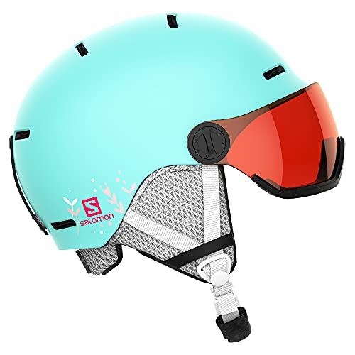 Salomon Kinder Ski- und Snowboardhelm mit Visier, In-Mold-Schale + EPS-Innenschale, Größe M, Kopfumfang 53-56 cm, türkis (Aruba Glossy/Univ.), L40837000