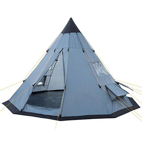 CampFeuer Tipi Zelt Spirit für 4 Personen | Firstzelt | 3.000 mm Wassersäule | Indianerzelt für Camping, Wandern | Pyramidenzelt (grau)