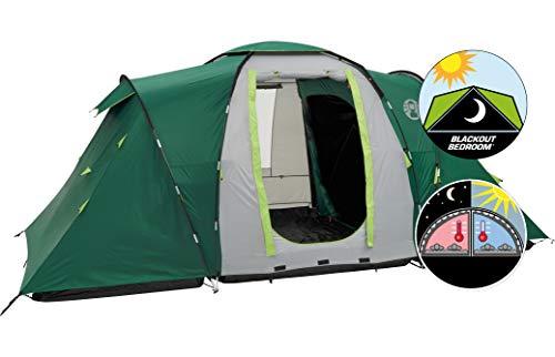 Coleman Spruce Falls 4 Zelt, 4 Personen Kuppelzelt mit nachtschwarzer Schlafkabine, 4 Mann Familienzelt, wasserdicht WS 4.500 mm, einheitsgröße, grün/grau
