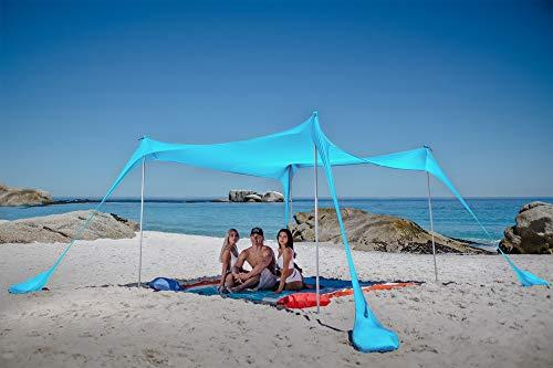 SUN NINJA Strandzelt, Sonnensegel LSF 50+, mit Sandschaufel, Heringen und Stabilitätsstangen, Schattensegel für draußen für Campingausflüge, Angeln, Spaß im Garten oder Picknicks