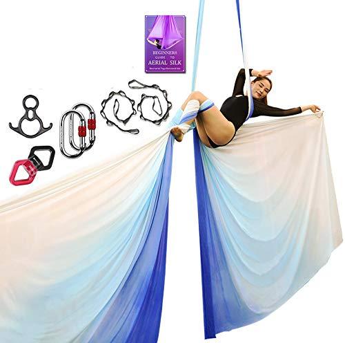 Aerial Silks Deluxe-Ausrüstungs-Set für Aerial Yoga, Aerial Yoga Hängematte, Aerial Acrobatik, Zirkuskunst, Aerial Dance (L: 10 m B: 2,8 m (gradueller Wechsel blau)