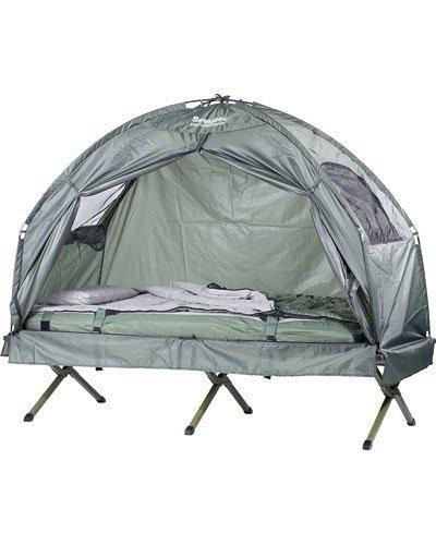 Semptec Urban Survival Technology Campingliege: 4in1-Zelt mit Feldbett, Sommer-Schlafsack und Matratze (Zeltliege)