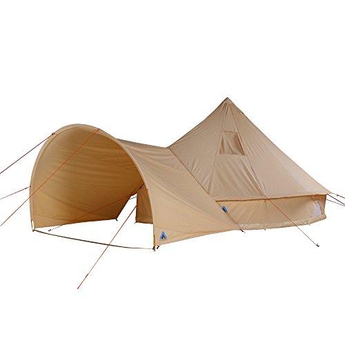 10T Camping-Zelt Desert 8+ wasserdichtes Familienzelt Tipi aus Baumwolle-Mischgewebe + Sonnendach