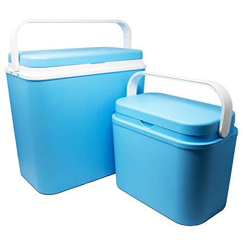 ToCi 2er Set Kühlboxen   Passive Kühl-Box mit 10 Liter und 24 Liter   Camping Kühltaschen in Blau-Weiß