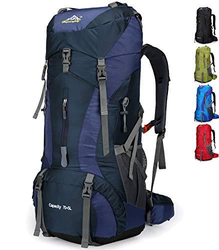 Doshwin 70L Rucksack Campingrucksack Trekkingrucksack Wanderrucksack Reiserucksack (mit Regenschutz) (Dunkelblau)