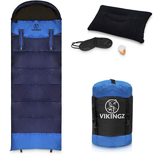 VIKINGZ Schlafsack für Erwachsene (3-4 Jahreszeiten) Kinderschlafsack warm & gemütlich | Deckenschlafsack | Winterschlafsack | Ultraleicht, kleines Packmaß - Ideal für Camping, Outdoor, Angeln