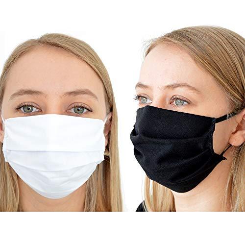BambiniWelt Mund-Nasen-Maske Gesichtsmaske 3-lagig Baumwolle Filter Vlies wiederverwendbar (1-Stück, schwarz)