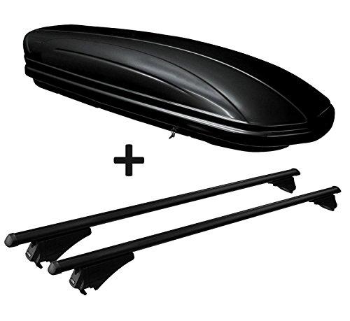 VDP Dachbox schwarz glänzend MAA320G günstiger Auto Dachkoffer 320 Liter abschließbar + Alu-Relingträger Dachgepäckträger aufliegende Reling im Set kompatibel mit Opel Insignia Sportourer ab 09