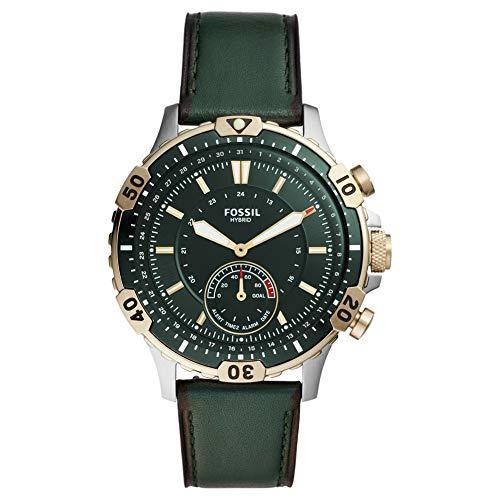 Fossil Hybrid Smartwatch Garrett Dark Green Leather Herrenuhr FTW1193