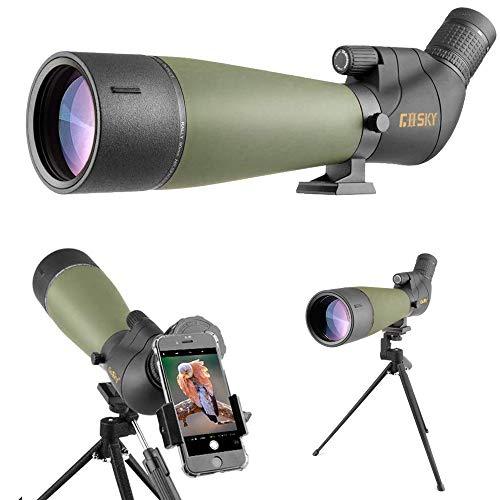 Gosky Spektiv mit Stativ, Tragetasche und Smartphone-Adapter – BAK4 abgewinkeltes Teleskop – wasserdicht für Zielschießen, Jagd, Vogelbeobachtung, Wildtierlandschaft