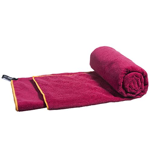 LightDRY Mikrofaser Handtuch Reisehandtuch Sporthandtuch, Extra saugfähig, leicht & antibakteriell, 120x60cm, Rot