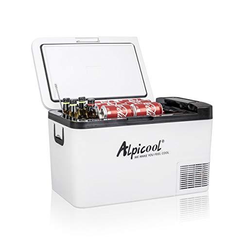 Alpicool K25 25 Liter Kühlbox Kühlschrank Gefrierbox Mini tragbare Elektrische Kühlbox 12/24V DC für Auto, LKW, Boot und Steckdose mit USB-Anschluss, -20℃-20℃