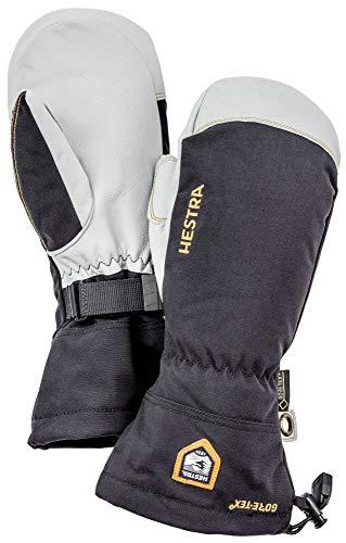 Hestra wasserdichte Ski-Handschuhe für Damen und Herren, Armee-Leder, Gore-Tex, für kaltes Wetter, Fäustlinge, Schwarz, 8