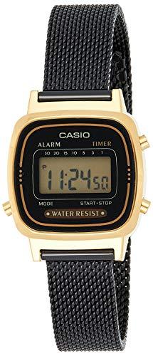 Casio Damen Digital Quarz Uhr mit massives Edelstahl Armband LA670WEMB-1EF