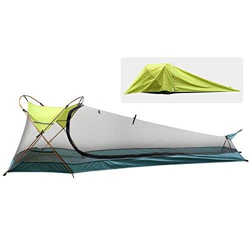 Rhino Valley Biwaksack Einzelperson Camping Zelt, wasserdichte Tragbare Leichte Outdoor Notfallzelt, Sonnenschutz Bivy Tent für Camping, Wandern, Reiten, Trekking, Bergsteigen, Grün