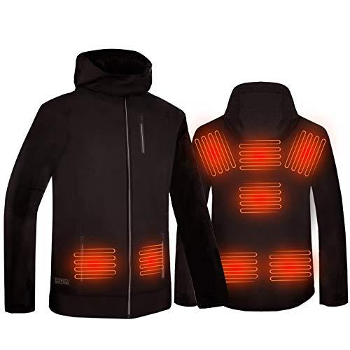 ISOPHO Beheizbare Jacke USB Lade Heizjacke Herren Damen Beheizte Jacke Wasserdicht Winddicht mit 3 Temperatur 8 Beheizte Bereiche Elektrische für Outdoor Arbeiten und Tägliches Tragen (Keine Batterie)
