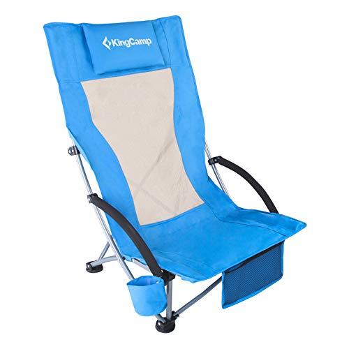 KingCamp Strand Liege Stuhl Hoch Lehne Camping Klapp Falt Sessel Niedrig 136 kg Royal Blue