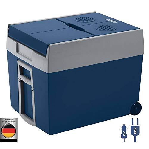 Mobicool W48 AC/DC - elektrische Kühlbox mit Rollen passend für eine komplette Getränkekiste/ Bierkiste, 48 Liter, 12 V und 230 V für Auto, Lkw und Steckdose, A++