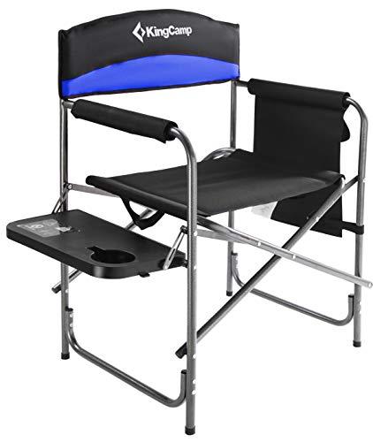 KingCamp Campingstuhl Regiestuhl mit Seitenablage und Seitentasche