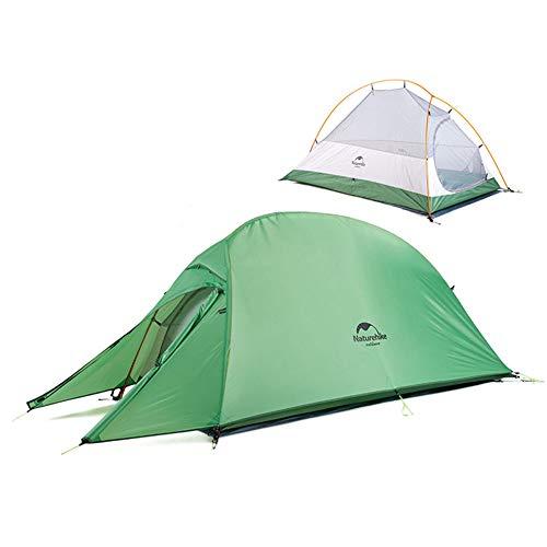 Naturehike Cloud-up 1 Ultraleichtes Campingzelt für 1 Person - Wasserdichtes Doppelschicht Backpackingzelt 4 Seasons(Grün)