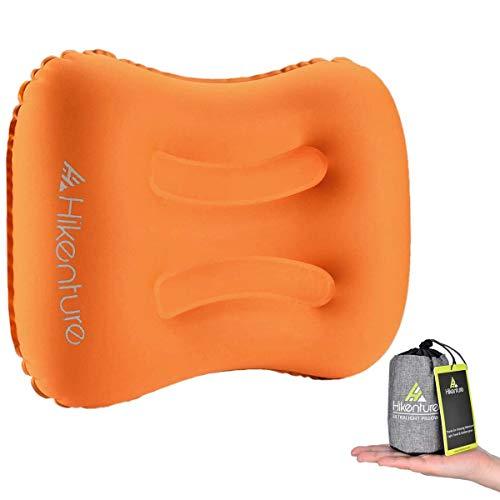 Hikenture Aufblasbares Reisekissen Camping Kissen - Ultraleichtes Reisekissen - Luftkissen Nackenkissen - Camping Pillow für Camping, Reise, Outdoor, Büro (Orange)