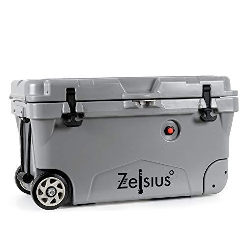 Zelsius Kühlbox 50 Liter mit Räder   Coolbox   Fahrbare Cooling Box ideal für Auto Camping Urlaub Angeln Freizeit Outdoor   Thermobox für Warm und Kalt (grau)