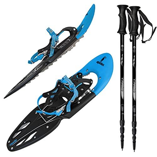 ALPIDEX Schneeschuhe 29 INCH Schuhgröße 38-46 bis 140 kg Steighilfe Tragetasche Optional Stöcke, Farbe:Blue mit Stöcken