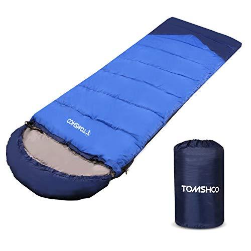 TOMSHOO Schlafsack 3-4 Jahreszeiten Schlafsäcke für Camping Outdoor und Indoor Erwachsene 220 x 80 cm-1.4KG(Dunkelblau)