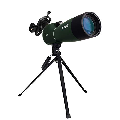 Svbony SV28 Spektiv 25-75x70 Abgewinkeltes Okular Wasserdicht BAK4 Prisma Monokular mit Stativ Handy Adapter Tragetasche Spektive für Sportschützen Vogelbeobachtung