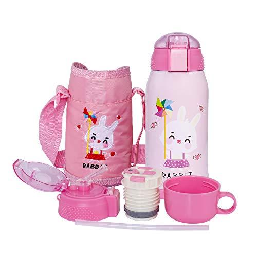 ISIYINER Vakuum Thermosflasche für Kinder Edelstahl Trinkflasche Mit Strohhalm, Doppelwandig Wasserflasche, Isolierflasche Familie BPA-Frei Auslaufsicher Geeignet für die Schule, im Freien,550ml Rosa
